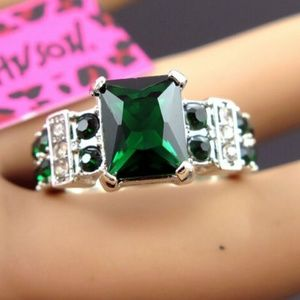 Square green Gemstone Silver Colour Betsey Johnson